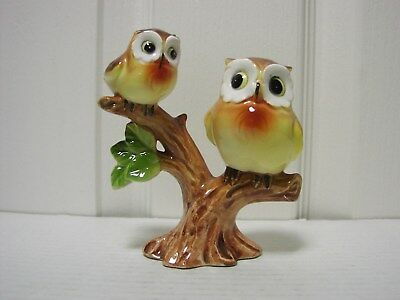 Vtg 50's Ceramic Norcrest Owls Mother w/Baby Figurine Bluebird Related Mint Cond