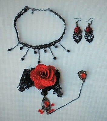 Women's Halloween Gothic Accesory Set: Necklace, Earrings Handpiece w. Ring