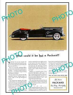 OLD LARGE HISTORIC ADVERTISING POSTER, PACKARD CUSTOM CONVERTIBLE CAR c1941