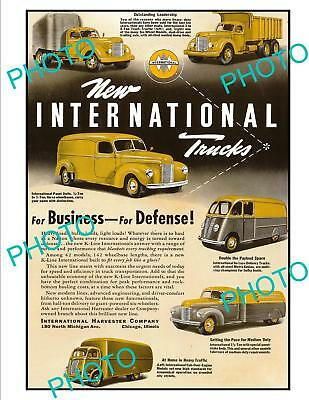 OLD LARGE HISTORIC ADVERTISING POSTER, INTERNATIONAL COMMERCIAL TRUCKS c1940s