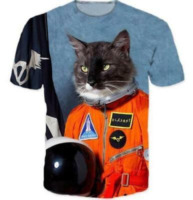 Women's/Men's Graphic Tee Funny Cat 3D Print First Cat in Space Casual T-Shirt C