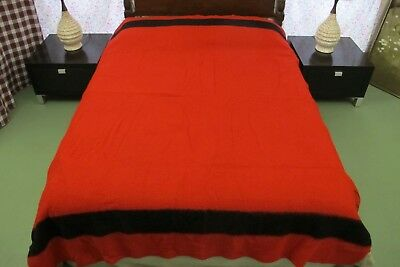 Gently Used EARLY'S OF WITNEY Hudson's Bay RED & BLACK Wool Blanket ENGLAND Made