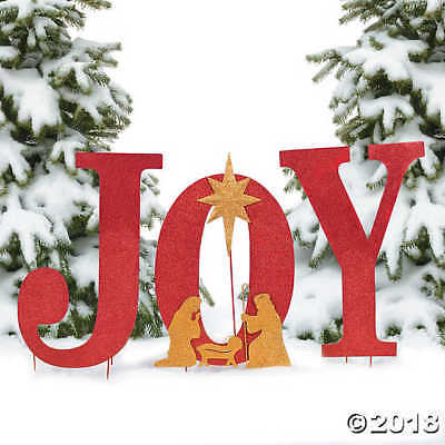 large sparkle joy nativity yard metal sign christmas holiday outdoor decor 26h