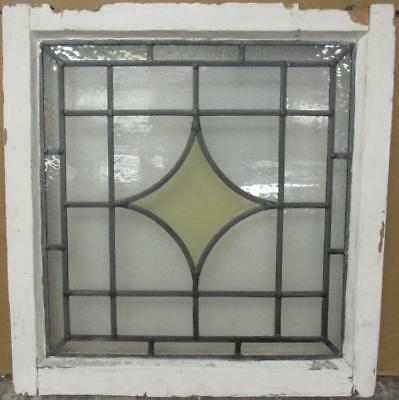 """OLD ENGLISH LEADED STAINED GLASS WINDOW Gorgeous Diamond Design 20.5"""" x 21.5"""""""