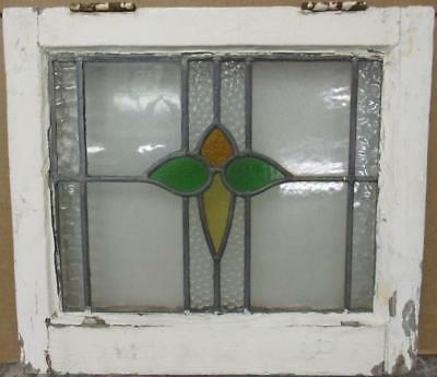 "OLD ENGLISH LEADED STAINED GLASS WINDOW Pretty Abstract Floral Design 20"" x 18'"