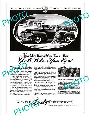 Old Large Historic Advertising Poster, 1941 Dodge Luxury Liner Motor Car