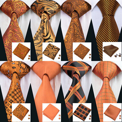 USA Orange Gold Tie Necktie Set Silk Mens Paisley Plaids Solid Tie Wedding Party