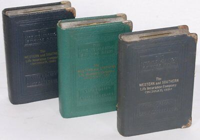 Lot of (3) Vintage National & Saving Trust Ohio Book Coin Banks Leatherette
