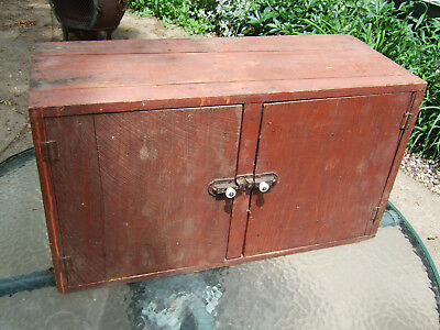 Antique Farmhouse Small Wall Cabinet Kitchen Tongue In Groove Rustic