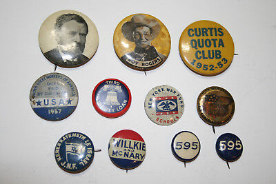 Vintage Mixed Lot 11 Pinback Buttons Political Campaign President WWII J.N.F.