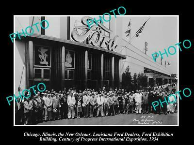 Old Large Historic Photo Of New Orleans Louisiana, The Ford Motor Dealers 1934