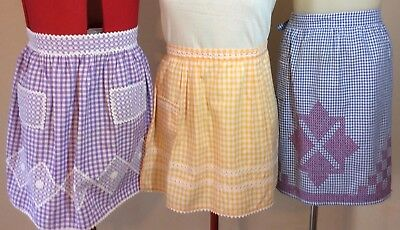 VINTAGE APRONS 1960s X 3 COTTON, handmade CHECKED S -L SAVE! Party Hens Nights
