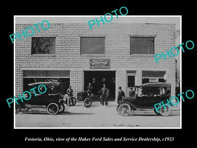 OLD LARGE HISTORIC PHOTO OF FOSTORIA OHIO, THE FORD CAR DEALERSHIP c1923