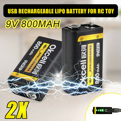 2Pcs OKcell USB Rechargeable 9V 800mAh Lipo Battery For RC Helicopter