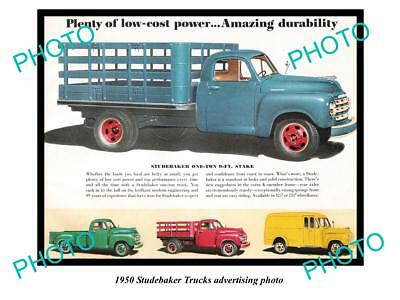 Old Large Historic Photo Of 1950 Studebaker Truck Advertisment, 1 Ton Stake