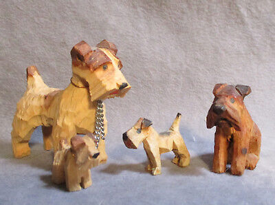 Lot of Vintage Hand Carved Wood Dogs - Little Fox Terriers & More