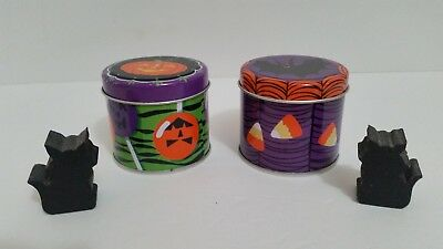 Set of 2 Halloween Tin Candles with 2 Mini Wooden Black Cats