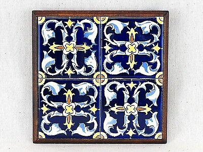Hand Painted Talavera Mexican Four Tile & Wood Hanging Trivet
