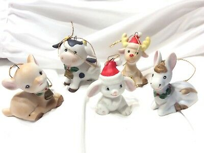 Vintage Ceramic Baby Donkey Cow Rabbit Deer Christmas Ornaments