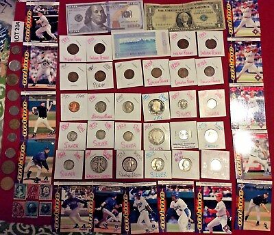 Mixed Lot Junk Drawer Collectibles,Stamps, Cards,Silver Coins & More #204