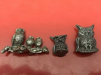 Lot Of 3 Pewter Owl Figures G