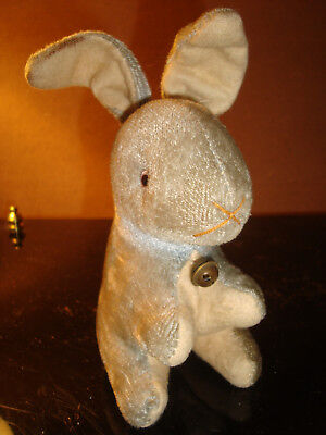 Vtg Blue Velvet  Easter Rabbit Bunny W/ Bell Plush Straw Stuffed Glass Eyes 40's
