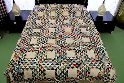 "Vintage 19th Century Fabrics Hand Pieced & Quilted OCEAN WAVES Quilt; 86"" x 73"""