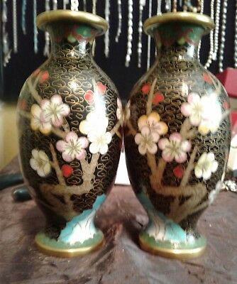 """Beautiful Small Asian Vintage Cloisonné Vases w. Overall Floral Designs 5"""" Tall!"""