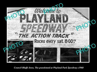 Old Large Historic Photo Of Council Bluffs Iowa, The Playland Park Speedway 1960