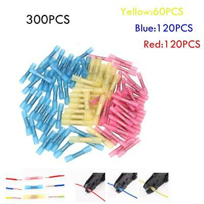 300 Pcs Assorted Heat Shrink Insulated Butt Crimp Wire Connector Terminals Kit