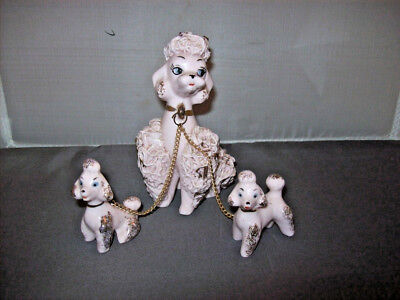 Pink Spaghetti Poodles Mother puppies C 5898 Figurine