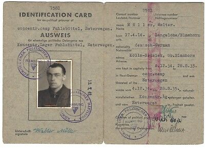 Historical concentration camp related ID document - Fuhlsbuttel in Esterwegen.