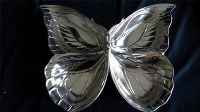 Fitz and Floyd Butterfly Pattern Large Server Tray Serve ware Metal 4 Sections