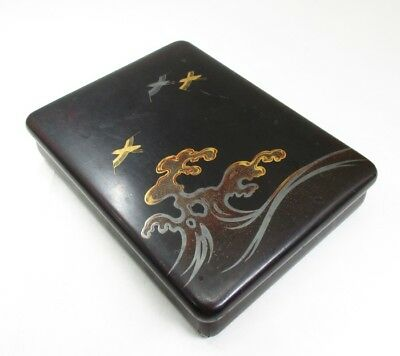 H095: Japanese ink stone case of old lacquer ware with MAKIE of NAMI-CHIDORI