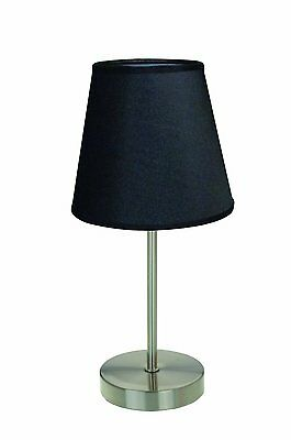 Traditional Table Lamp Living Room Decor Sand Nickel Base Black Fabric Shade