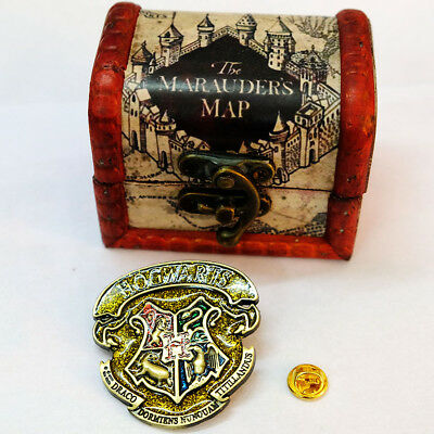 Big Bronze Harry Potter Hogwarts Logo Metal Pin Brooth 1PCS + Marauder's Map Box