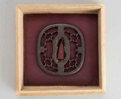Edo period orig Sukashi Tsuba antique japanese sword fittings wakizashi koshirae