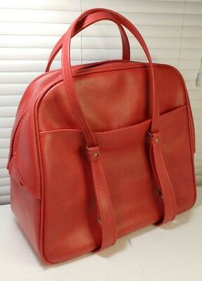 Vintage RED CARRY-ON TOTE BAG Faux Leather VINYL Luggage Overnight