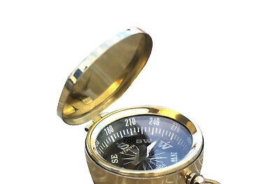 Brass Compass With Lid - Old Vintage Antique Pocket Style- Nautical Lot Of 12Pcs