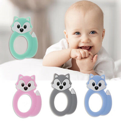 Silicone Teething Baby Teether Fox Head Beads DIY Chew Necklace Pendant 6L