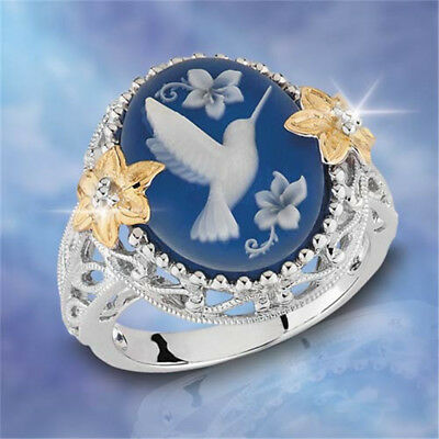 925 Silver Hummingbird Blue Gemstone Woman Wedding Jewelry Engagement Ring 6-10