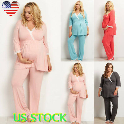 Women Maternity Pajamas Suit Autumn Nursing Clothes Breastfeeding Sleepwear Sets
