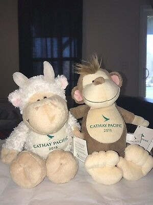 Auth Cathay Pacific Limited Edition Year Of The Goat/ Monkey Stuffed Toy BNWT