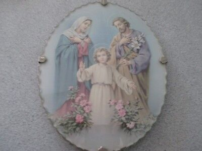 Collectable Religious Scalloped Glass Framed Holy Family Print. Very Sweet. LOOK