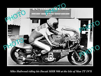 Old Large Historic Motorcycle Photo Of Mike Hailwood & His Ducati 900 1978, Tt