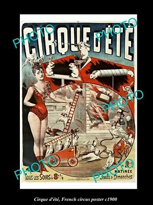 OLD LARGE HISTORIC PHOTO OF FRENCH CIRCUS POSTER, c1900 CIRQUE D'ETE, ANIMALS