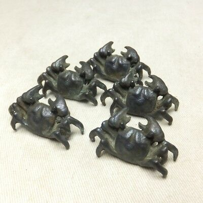 H150: Japanese copper ware five small crab statues as ornament for BONSAI