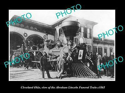 OLD LARGE HISTORIC PHOTO OF CLEVELAND OHIO, ABRAHAM LINCOLN FUNERAL TRAIN c1865