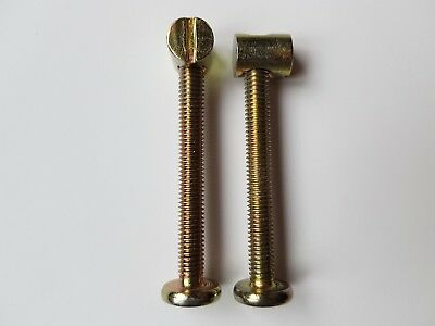 2 Screws bolts nuts beds cots furniture 60mm6cm long 1cm wide 10mm wide cotbed