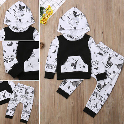 AU Newborn Baby Boy Girl 2pcs Clothes Autumn Tops Hoodie Long Pants Outfit Set